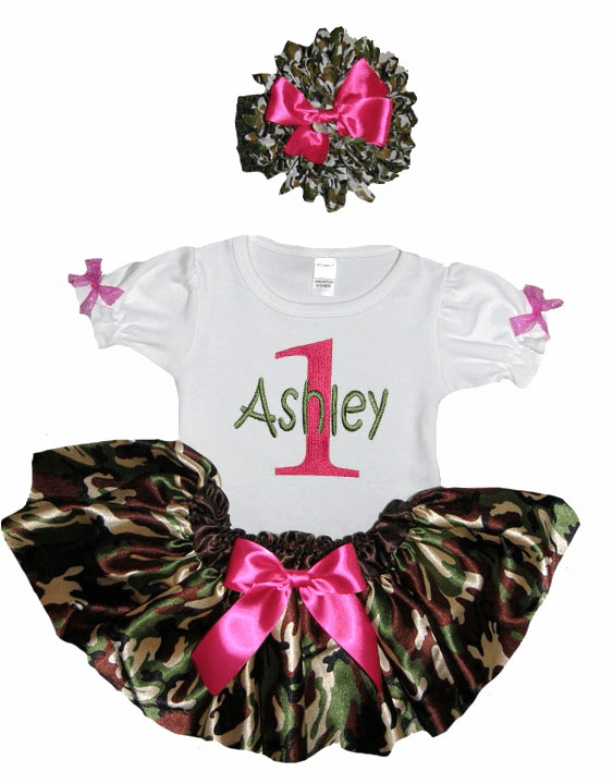 Personalized Baby Girl Birthday Satin Green Camouflage Hot Pink Tutu, Onezee & Flower Headband