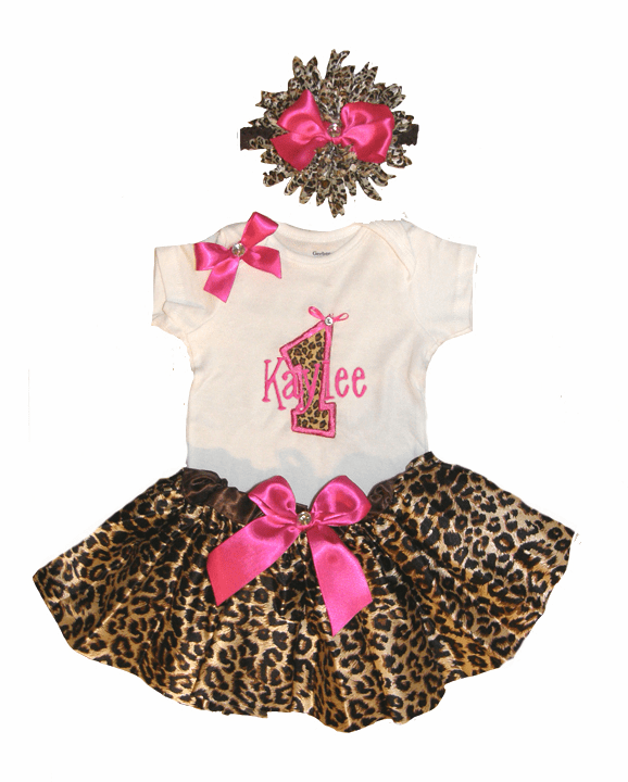 Personalized Baby Girl Birthday Satin Hot Pink CheetahTutu, Onezee & Flower Headband