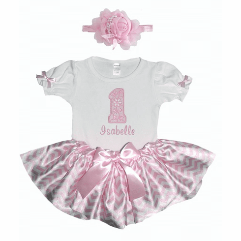 Personalized Baby Girl Birthday Satin Light Pink ChevronTutu, Onezee & Flower Headband