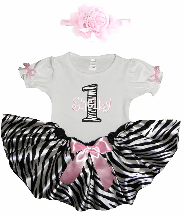 Personalized Baby Girl Birthday Satin Light Pink Zebra Tutu, Onezee & Flower Headband