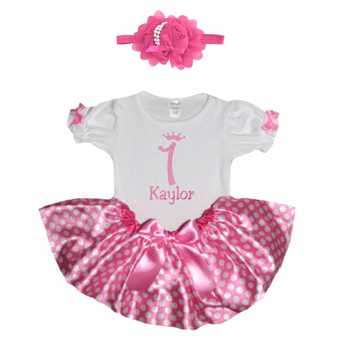 Personalized Baby Girl Birthday Satin Pink Polka-dots Tutu, Onezee & Flower Headband
