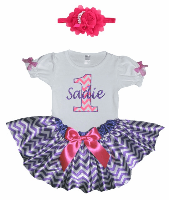 Personalized Baby Girl Birthday Satin Purple & Hot Pink ChevronTutu, Onezee & Flower Headband