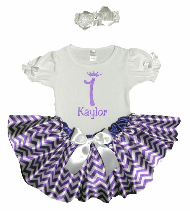 Personalized Baby Girl Birthday Satin Purple & White Chevron Tutu, Onezee & Flower Headband