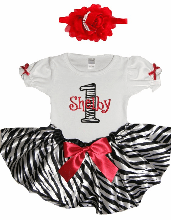 Personalized Baby Girl Birthday Satin Red ZebraTutu, Onezee & Flower Headband