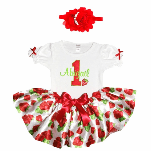 Personalized Baby Girl Birthday Satin StrawberriesTutu, Onezee & Flower Headband