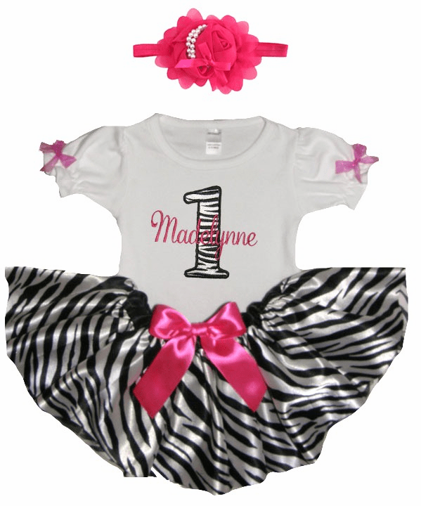 Personalized Baby Girl Birthday Satin Zebra & Hot Pink Tutu, Onezee & Flower Headband