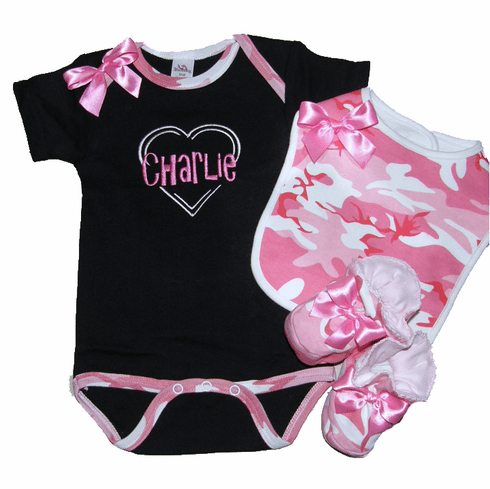 Personalized Baby Girl Black & Pink Camo Onezee, Bib & Booties