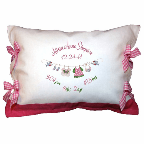 Personalized Baby Girl Clothesline Design Birth Certificate Pillow