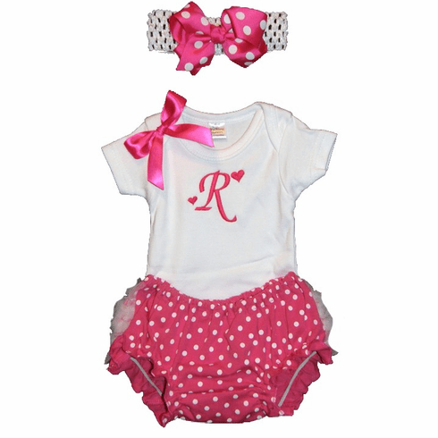 Personalized Baby Girl Onezee, Diaper Cover and Headband Set Hot Pink Dots Design