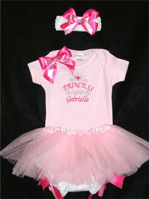 PERSONALIZED Baby Girl  Pink Princess Birthday Onezee & Tutu Bloomer / Headband  Set