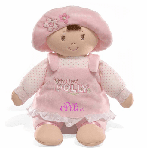 Personalized Baby Gund  MY FIRST DOLLY Brown Hair, Brown Eyes 319893 s