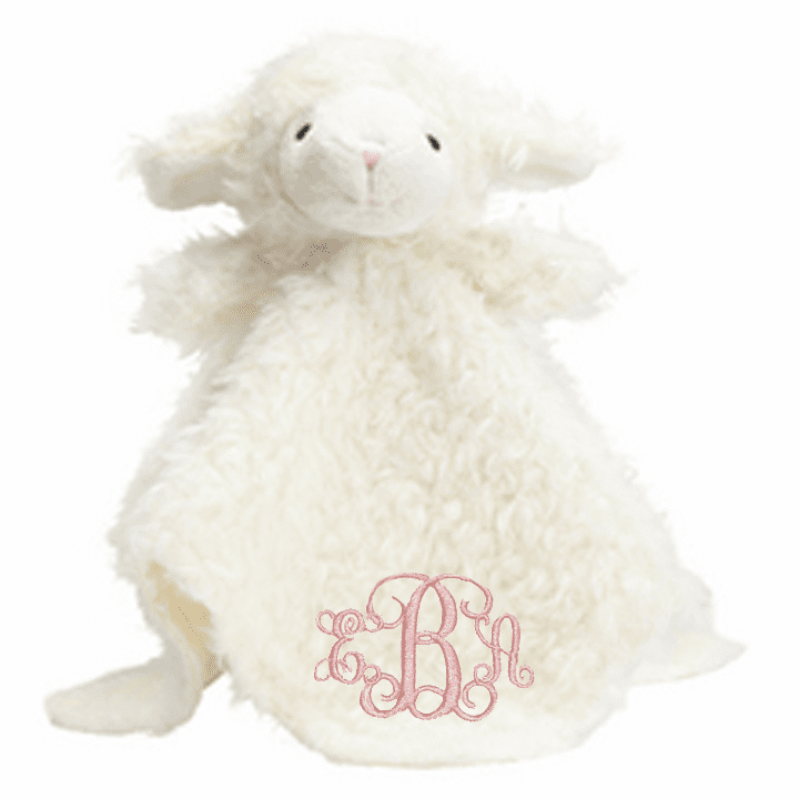 PERSONALIZED Baby Lovie Snuggly Blankie Ivory Lamb Satin Underside