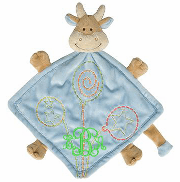 PERSONALIZED Baby Lovie Snuggly Blankie Light Blue Minky Cow