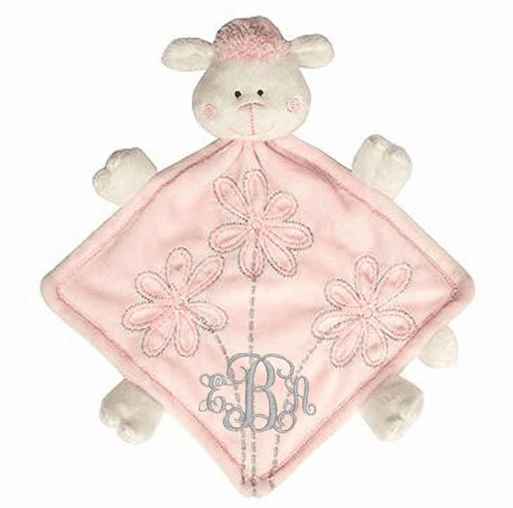 PERSONALIZED Baby Lovie Snuggly Blankie Pink Minky Lamb
