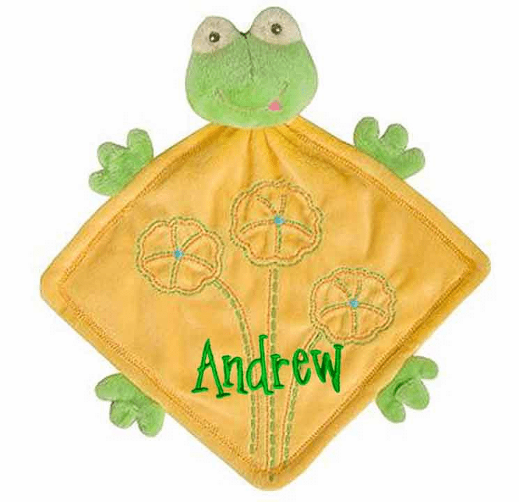 PERSONALIZED Baby Lovie Snuggly Blankie Yellow & Green Minky Frog