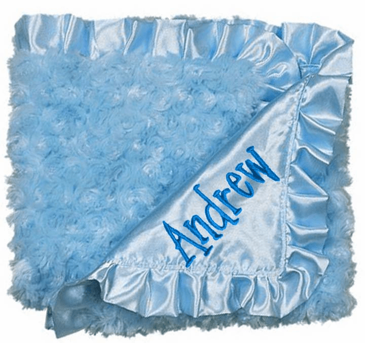Personalized Baby Swirlz Fur Blue Blanket Trimmed with Blue Satin Personalize Me