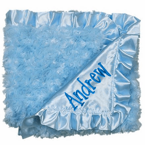 Personalized Baby Swirlz Fur Pink or Blue Blanket Trimmed with Satin