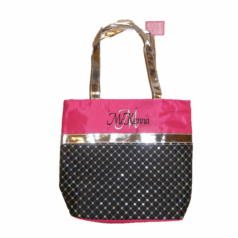 PERSONALIZED Bag Tote Ballet Dance Gymnastics Sequin Black & Hot Pink