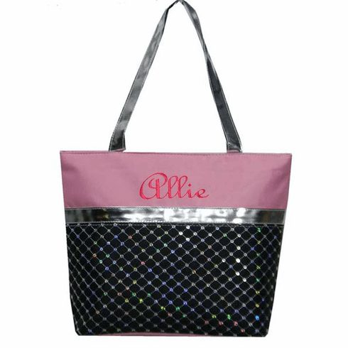 PERSONALIZED Bag Tote Ballet Dance Gymnastics Sequin Black & Lt Pink