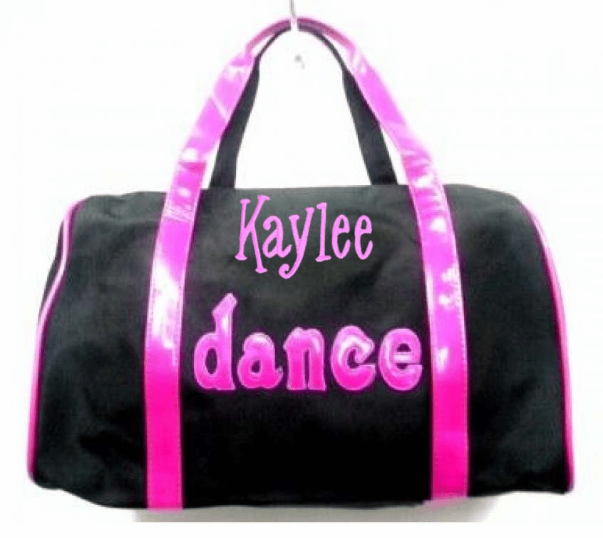 PERSONALIZED Bag Tote Purse Ballet Dance Black Microfiber Hot Pink Trim