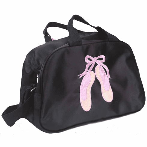 PERSONALIZED Bag Tote Purse Ballet Dance Black Satin Pink Slippers