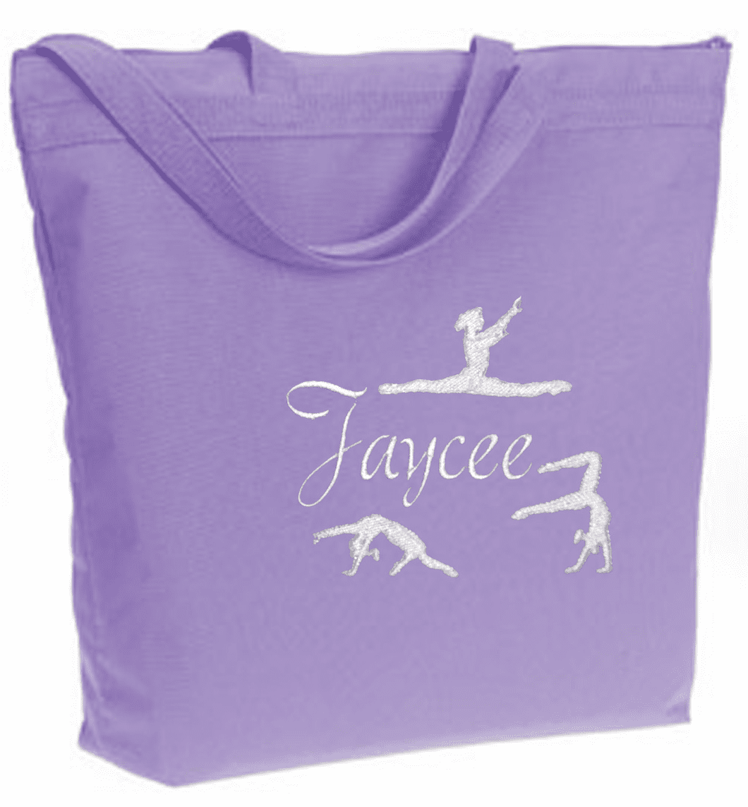 PERSONALIZED Bag Tote Purse Gymnastics Dance Acro Lavender