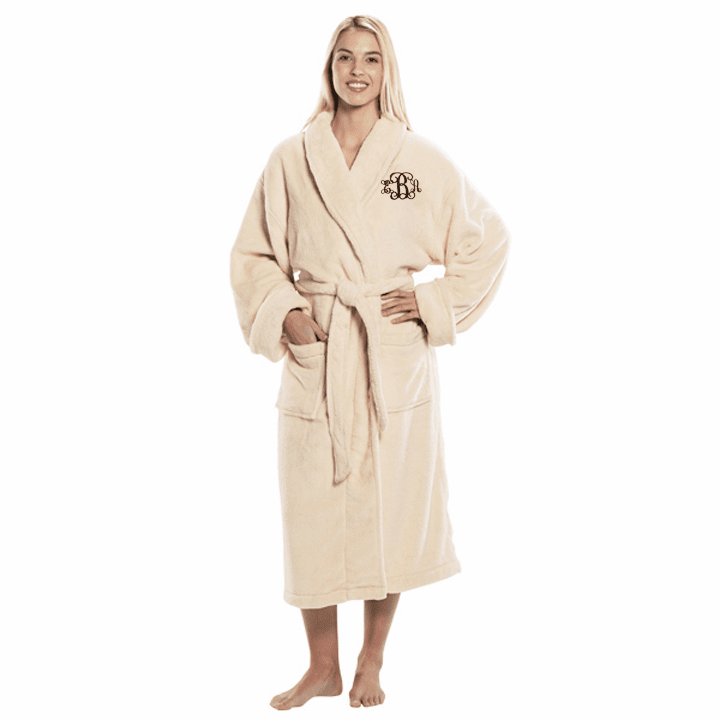 Personalized Beige Tahoe Micro Fleece Shawl Collar Robe 48""
