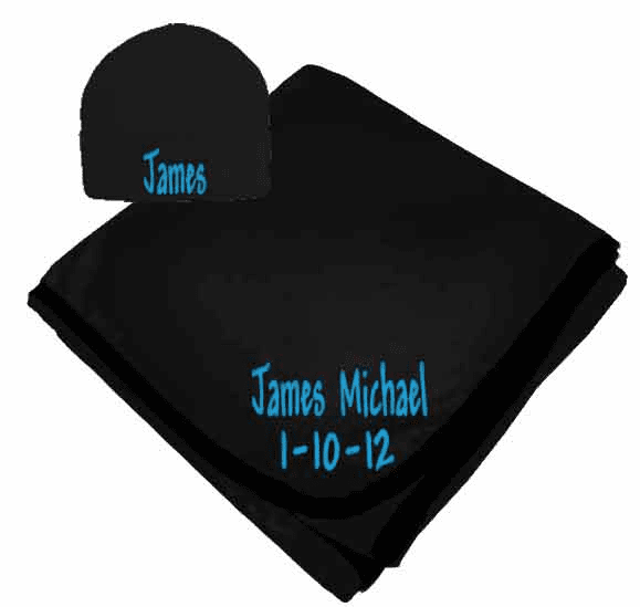 Personalized Birth Date & Name Black Interlock Baby Receiving Blanket, Hat
