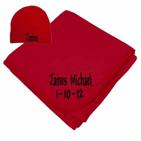 Personalized Birth Date & Name Bright Red Interlock Baby Receiving Blanket, Hat