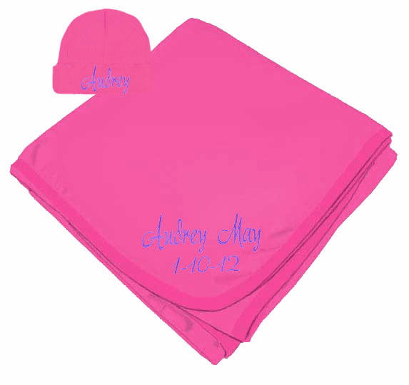 Personalized Birth Date & Name Hot Pink Interlock Baby Receiving Blanket, Hat