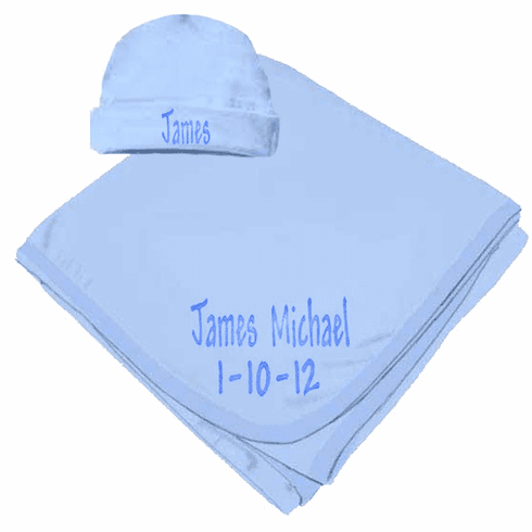 Personalized Birth Date & Name Light Blue Interlock Baby Receiving Blanket, Hat