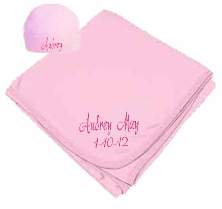 Personalized Birth Date & Name Pink Interlock Baby Receiving Blanket, Hat