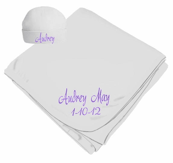 Personalized Birth Date & Name White Interlock Baby Receiving Blanket, Hat