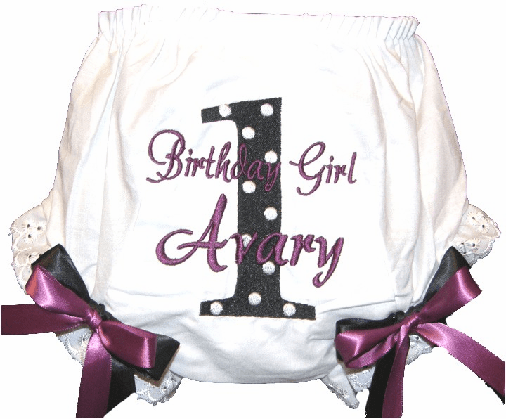 Personalized Birthday Diaper Cover Bloomers Black Dot & Wine