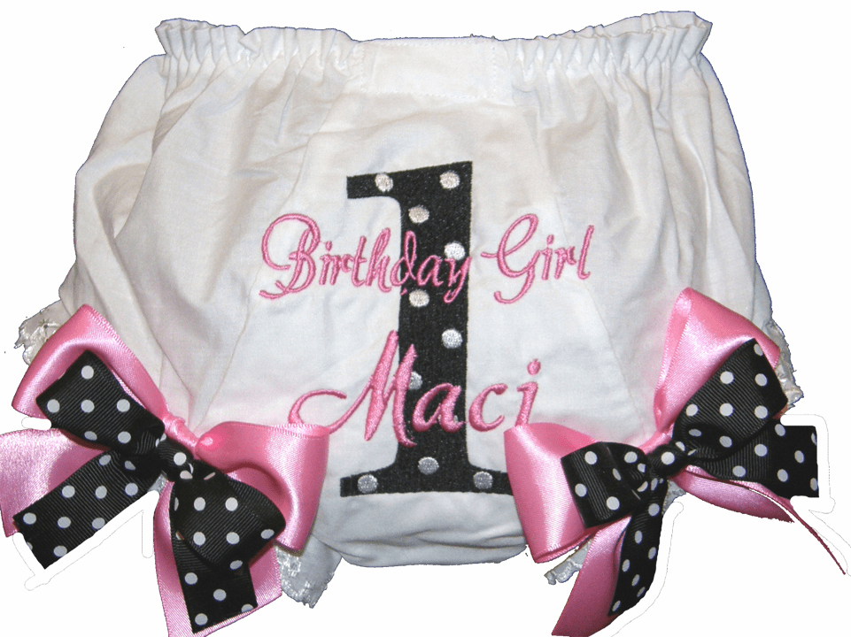 Personalized Birthday Diaper Cover Bloomers Black & Pink Double Bows