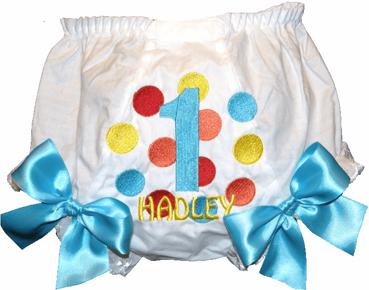 Personalized Birthday Diaper Cover Bloomers Bright Color Dots