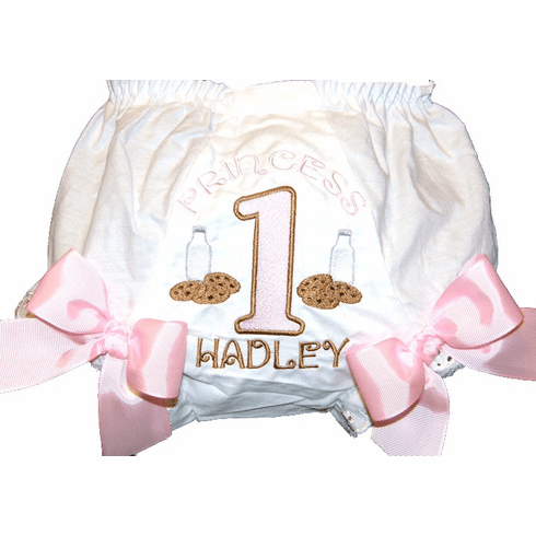 Personalized Birthday Diaper Cover Bloomers Cookies & Milk