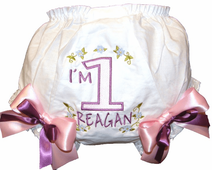 Personalized Birthday Diaper Cover Bloomers Flowers Design