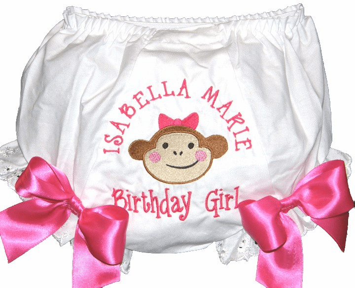 Personalized Birthday Diaper Cover Bloomers Girl Monkey