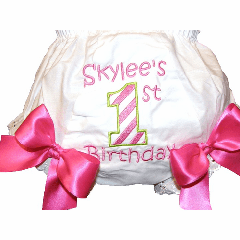 Personalized Birthday Diaper Cover Bloomers Hot Pink Stripes