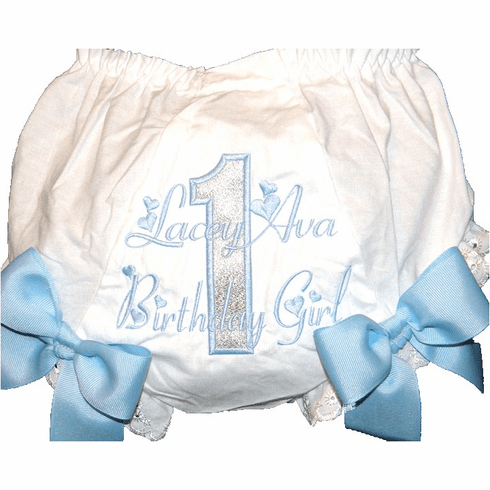 Personalized Birthday Diaper Cover Bloomers Light Blue Silver
