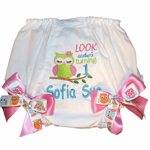 Personalized Birthday Diaper Cover Bloomers Owl Look Who's One