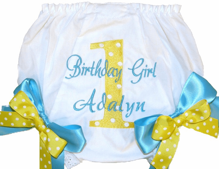 Personalized Birthday Diaper Cover Bloomers Panties Aqua & Yellow