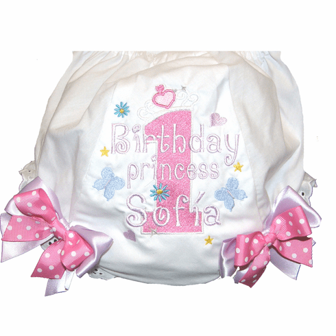 Personalized Birthday Diaper Cover Bloomers Panties Flowers & Butterflies