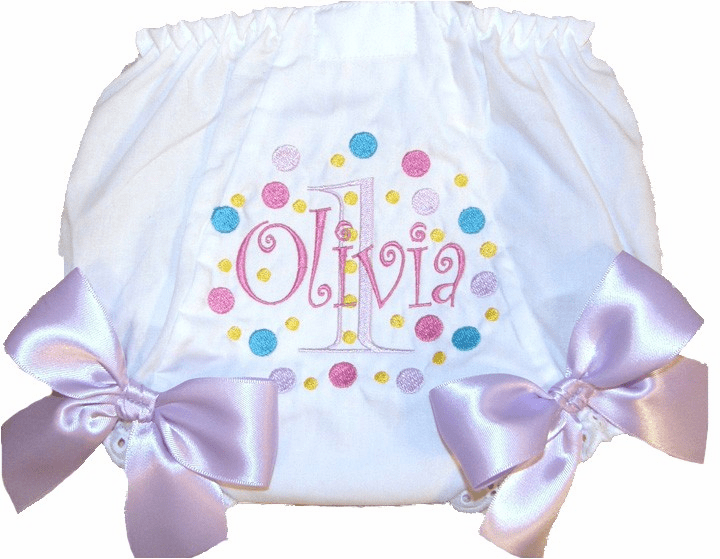 Personalized Birthday Diaper Cover Bloomers Panties Fun Dots