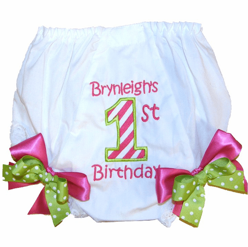 Personalized Birthday Diaper Cover Bloomers Panties Hot Pink & Lime