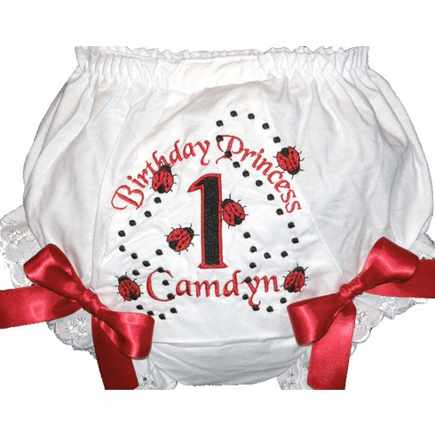 Personalized Birthday Diaper Cover Bloomers Panties Ladybugs