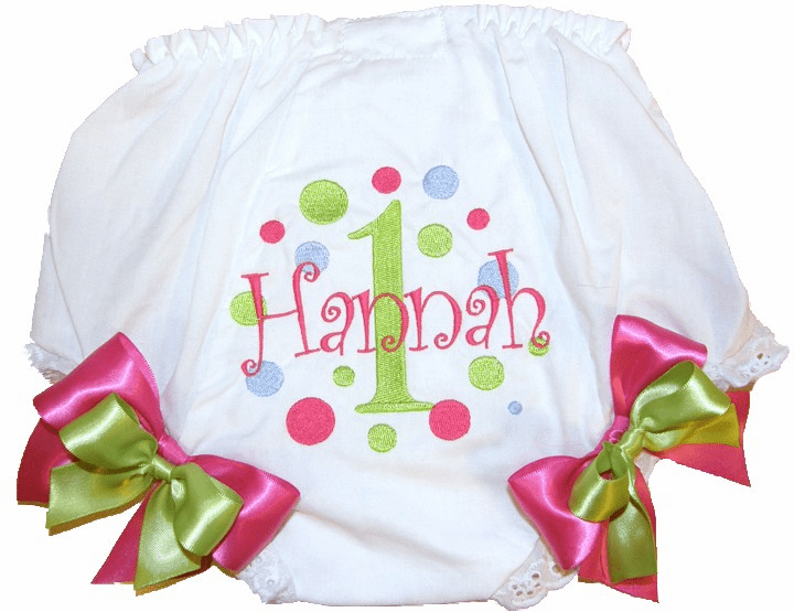 Personalized Birthday Diaper Cover Bloomers Panties Lime-Blue-Hot Pink Dots