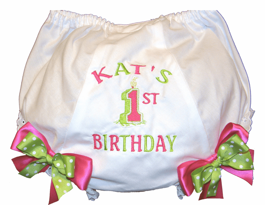 Personalized Birthday Diaper Cover Bloomers Panties Lime & Hot Pink Candle