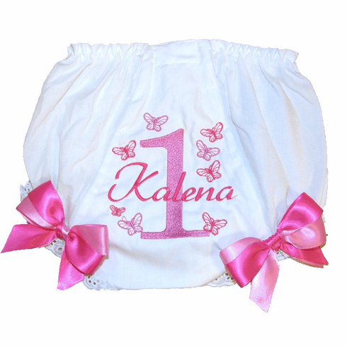 Personalized Birthday Diaper Cover Bloomers Panties Pink Butterflies